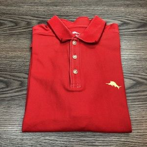 Tommy Bahama Red-Orange Polo Shirt L